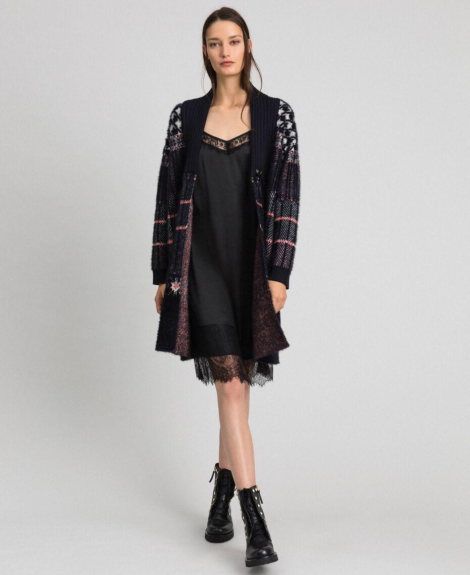 Unterkleid aus Satin mit Spitze Schwarz Frau 192MP2132-0T