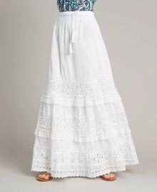 Falda larga con encaje y bordados Hueso Mujer 191MT2272-04