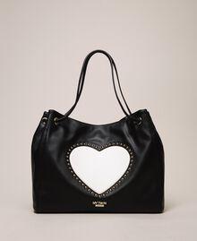 "Hobo bag with studs and heart Black / ""Vanilla"" White Woman 201MA7093-01"