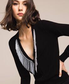 Cardigan with rhinestone fringes Black Woman 201TP3083-01