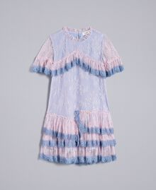 "Chantilly lace dress Bicolour ""Polynesian"" Light Blue / ""Bougainvillea"" Pink Child GA82YA-01"
