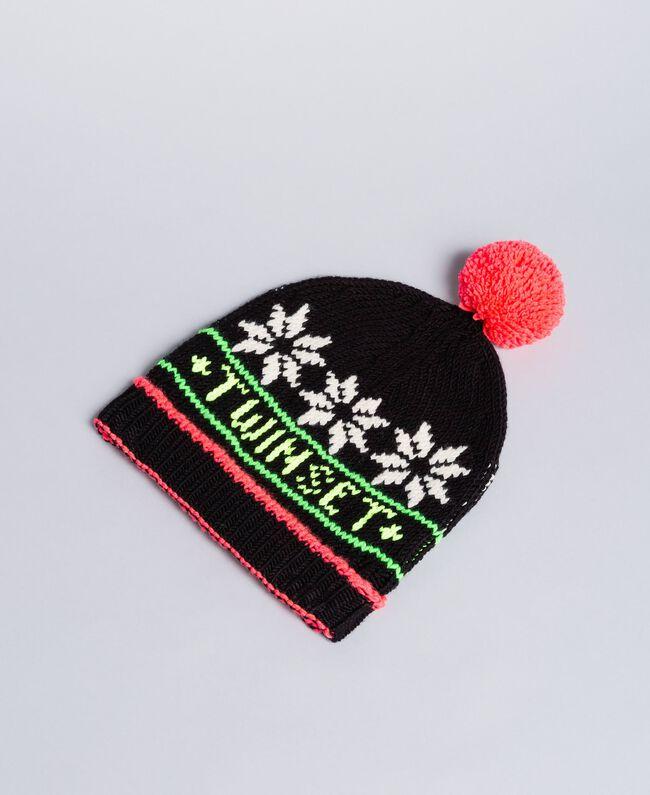 Jacquard knit hat with logo Black Woman QA8TLC-01