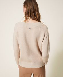 "Ribbed jumper with embroidery ""Nude"" Beige Woman 202ST3090-03"