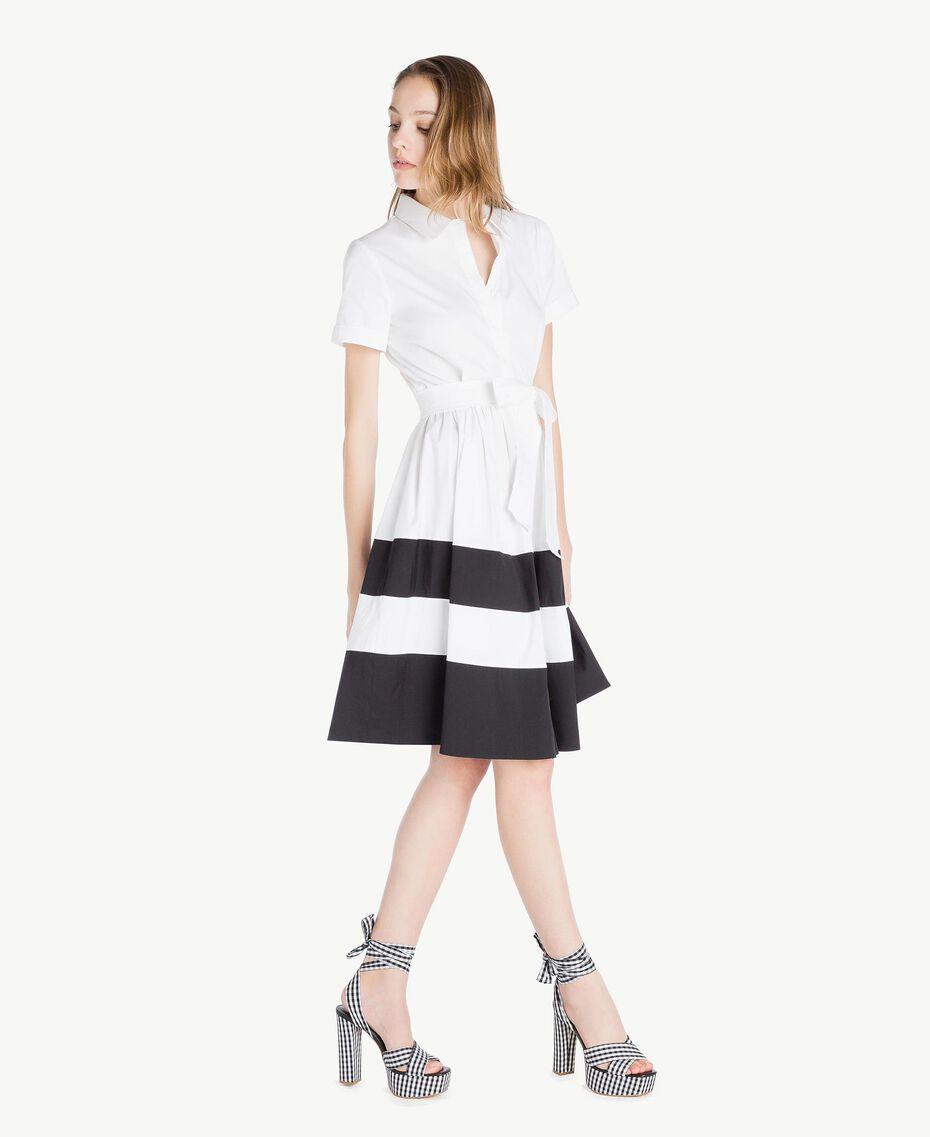 Robe chemisier popeline Blanc Optique / Noir Femme YS82FC-02