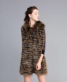 Gilet tricot in pelliccia Bicolor Nero / Camel Donna PA82LD-01