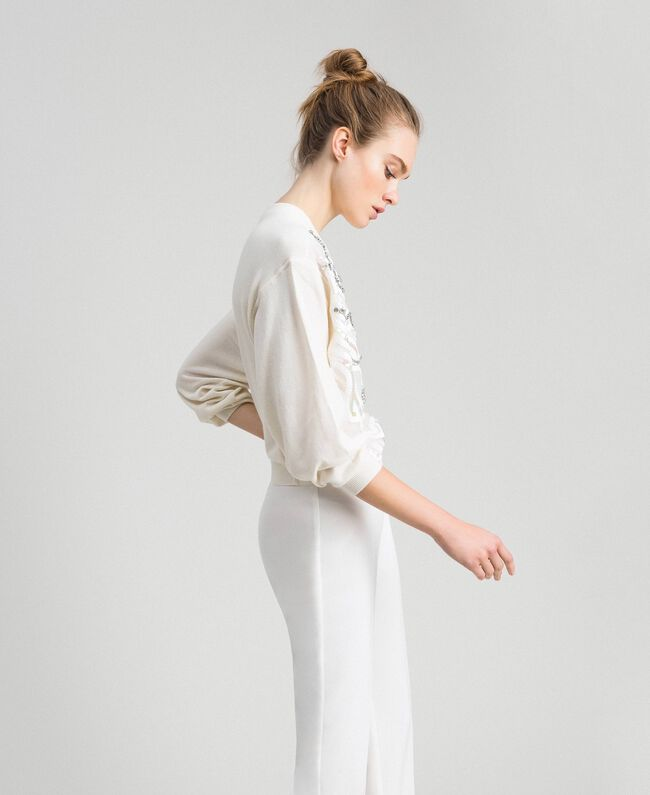 Cashmere blend jumper with embroidery White Snow Woman 192TQ3038-03