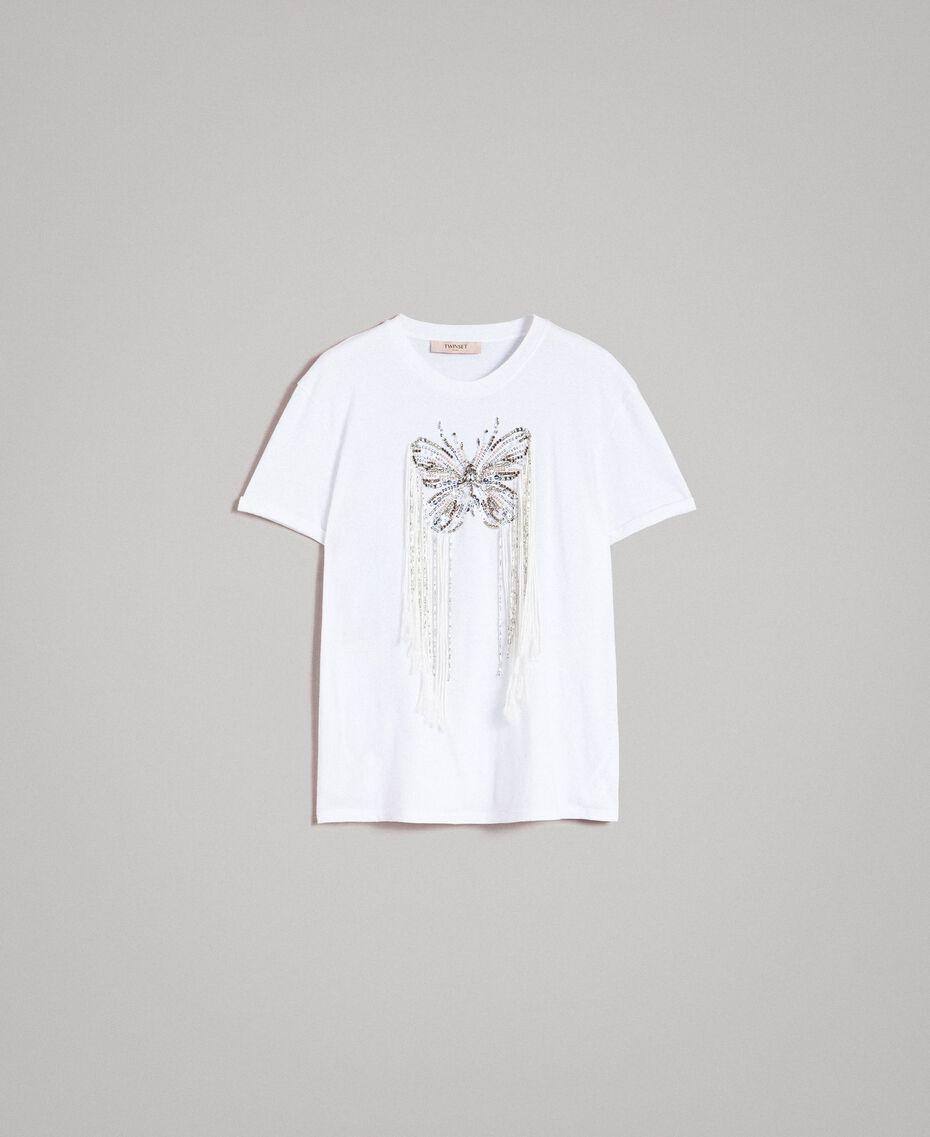 T-shirt avec broderie papillon et franges Blanc Femme 191TP2600-0S