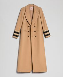 Langer, zweireihiger Mantel aus Tuch Kamel Frau 192TT2160-0S