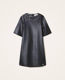 Платье из искусственной кожи со звездочками Черный Pебенок 202GJ2831-0S