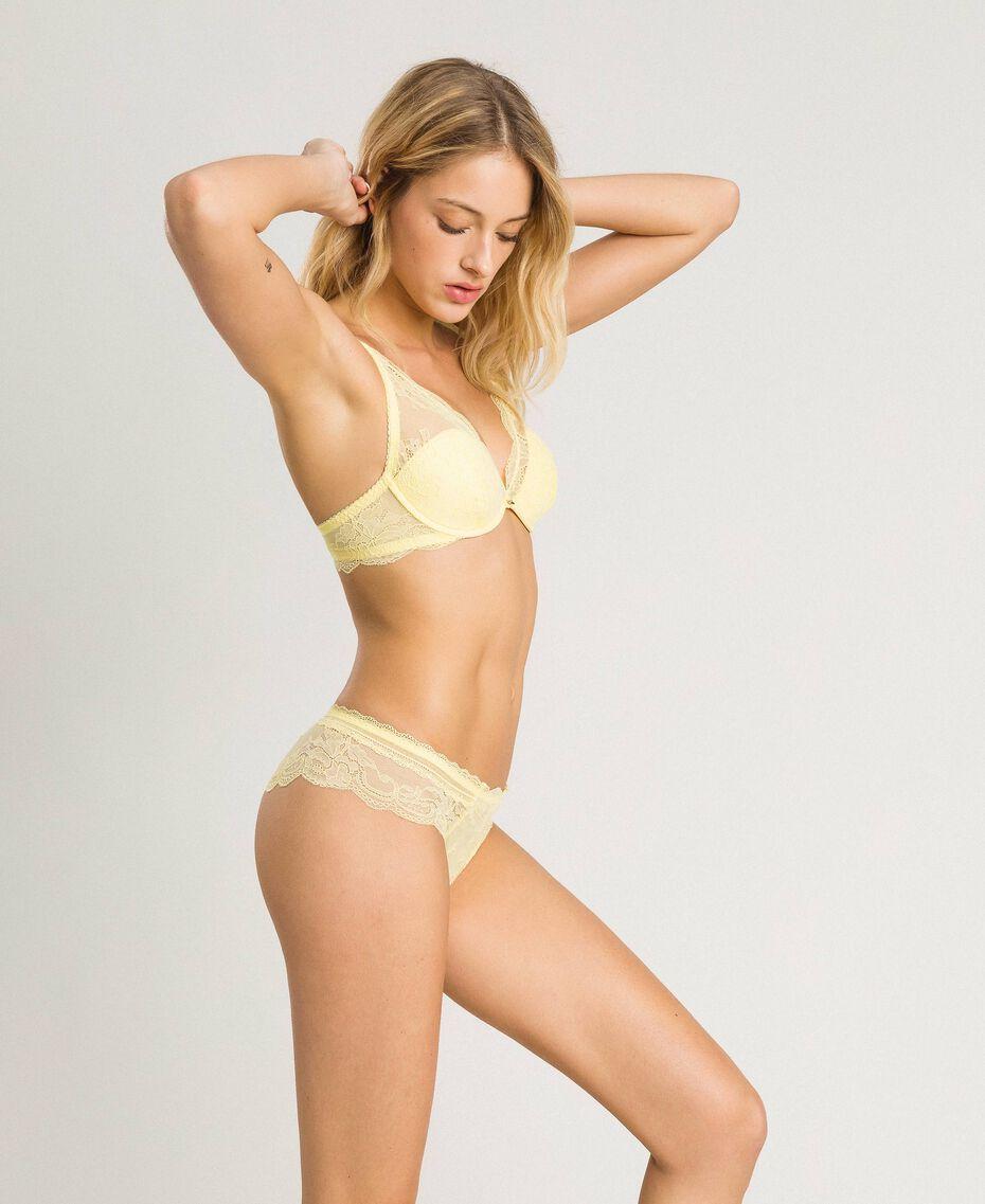 """Lace Brazilian briefs """"Daisy Yellow"""" Woman 191LL6B77-02"""