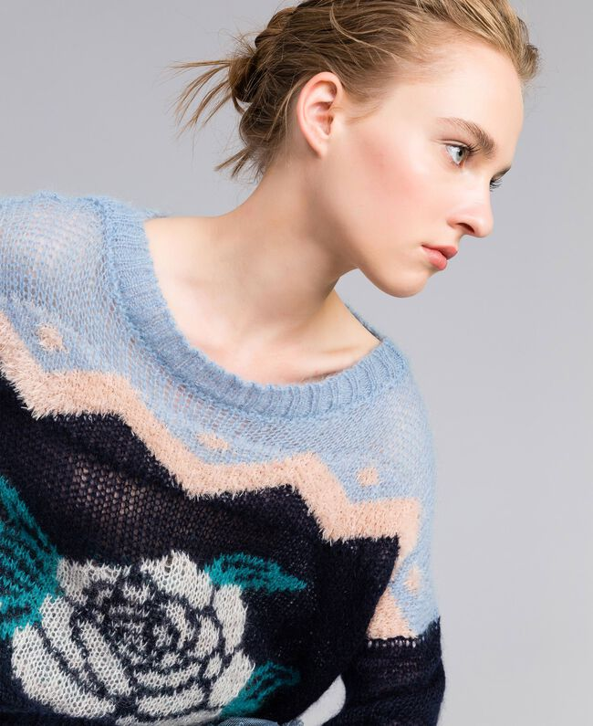 Rose mohair jumper Blue Jacquard and Printed Rose Woman PA837A-04