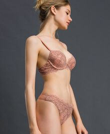 Lace and tulle G-string Peach Rose / Black Woman 192LI6488-02