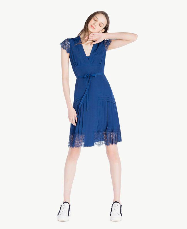 """Kleid mit Spitze """"Navy Peony""""-Blau Frau SS82GQ-01"""