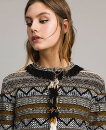 Round-neck jacket with inlay and fringes Multicolour Neutral Grey Striping Woman 191TT3161-04