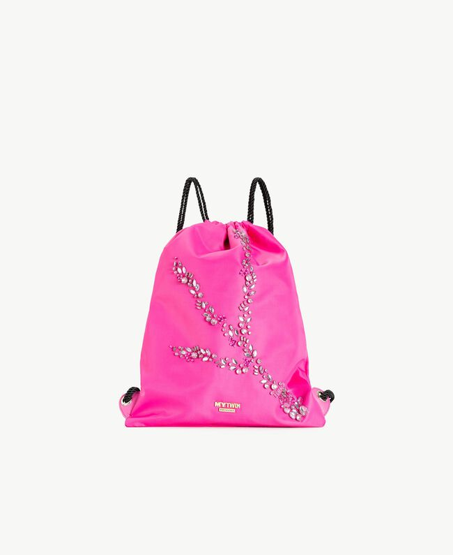 TWINSET Rhinestone backpack Silk Fuchsia Stone Embroidery Woman RS8TGD-01