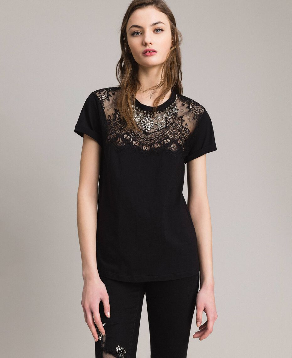Lace and rhinestones T-shirt Black Woman 191TP2603-02