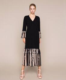 Трикотажное платье с набивными оборками Двухцветный Черный / Принт Полоска женщина 201TP3252-01