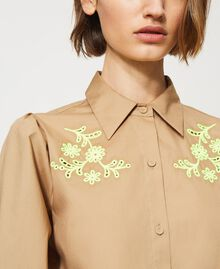 """Poplin shirt with high-vis embroideries """"Biscuit"""" Brown Woman 211MT2093-05"""