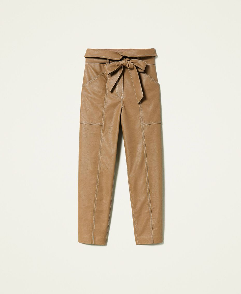 """Coated fabric carrot fit trousers """"Rum"""" Brown Woman 212TP2021-0S"""