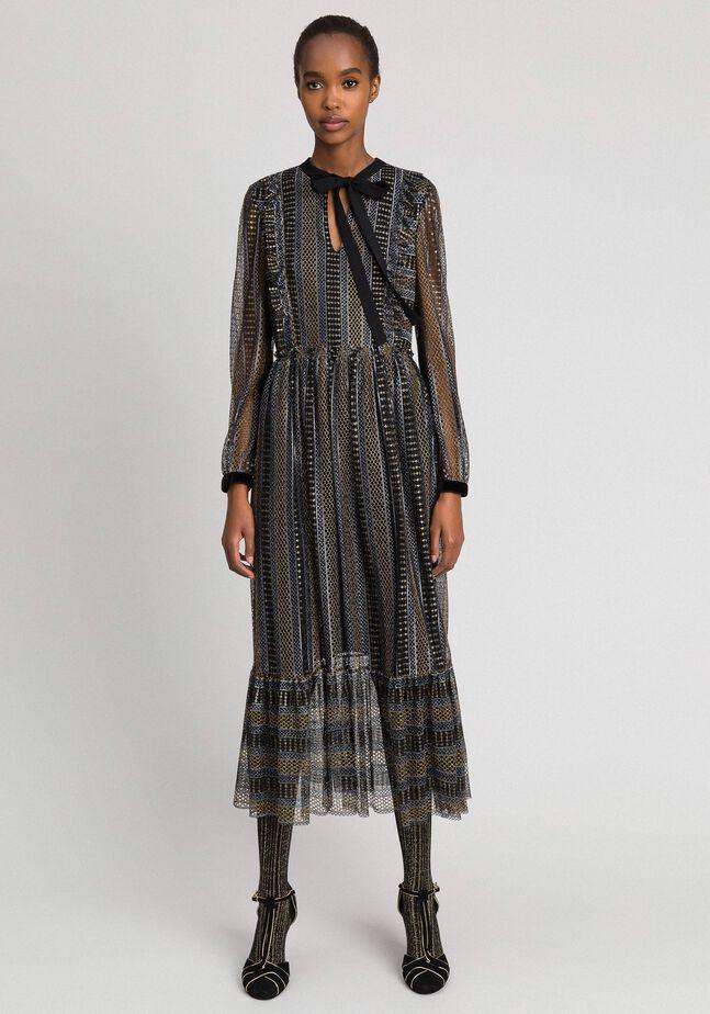 Robe longue en dentelle lurex