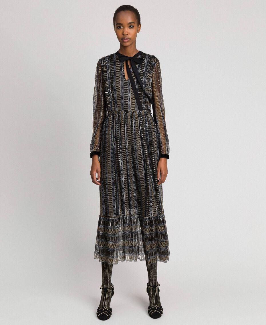 Lurex lace long dress Black Woman 192TT2360-01