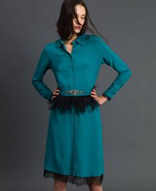 Georgette shirt dress with belt Mineral Green Pale Blue Woman 192TP2113-02