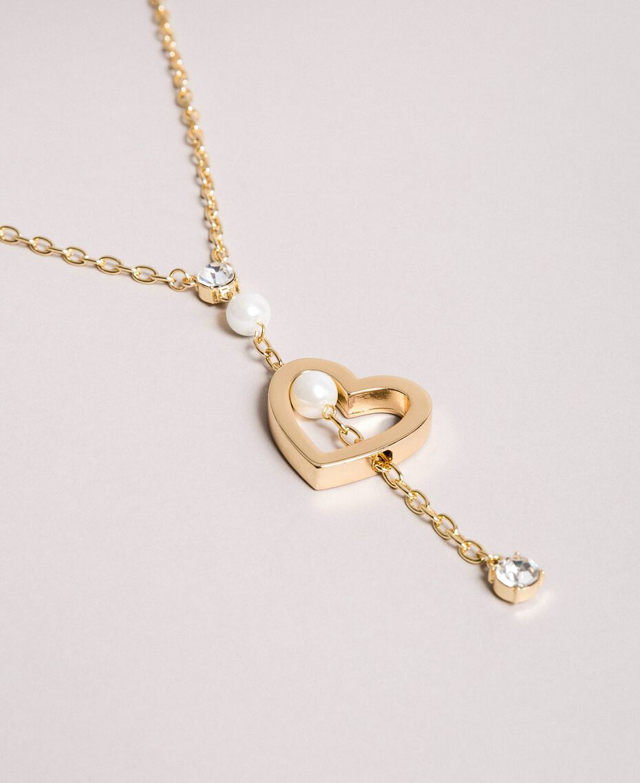 Necklace with heart pendant, pearls and stones Gold Yellow Woman 191TQP010-02