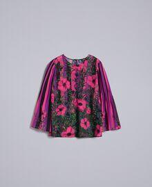 "Bluse aus Chiffon mit Blumenprint Print ""Flower&Stripes"" Frau TA829N-0S"