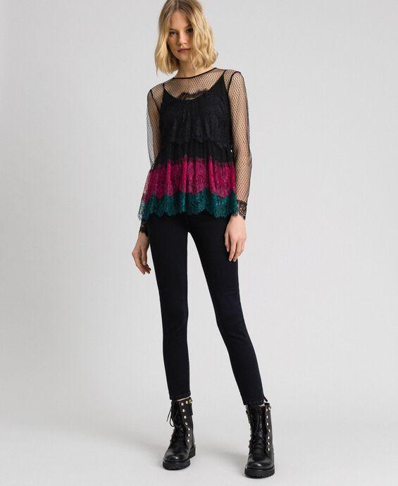 Bluse aus Spitze im Color-Block-Look