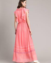 """Robe longue en georgette et dentelle Rose """"Églantine"""" Femme 191TP2370-03"""