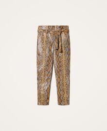 Pantalon en similicuir animalier Imprimé Serpent Noisette / Tabac Femme 202TT2225-0S