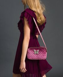 Velvet shoulder bag with butterfly Dusty Pink Woman 192TA7091-0S