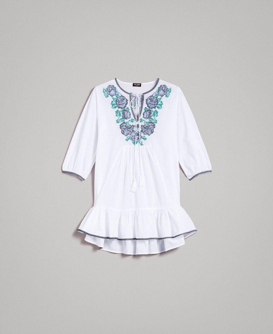Bluse mit Kreuzstich Weiß Frau 191MT2063-0S