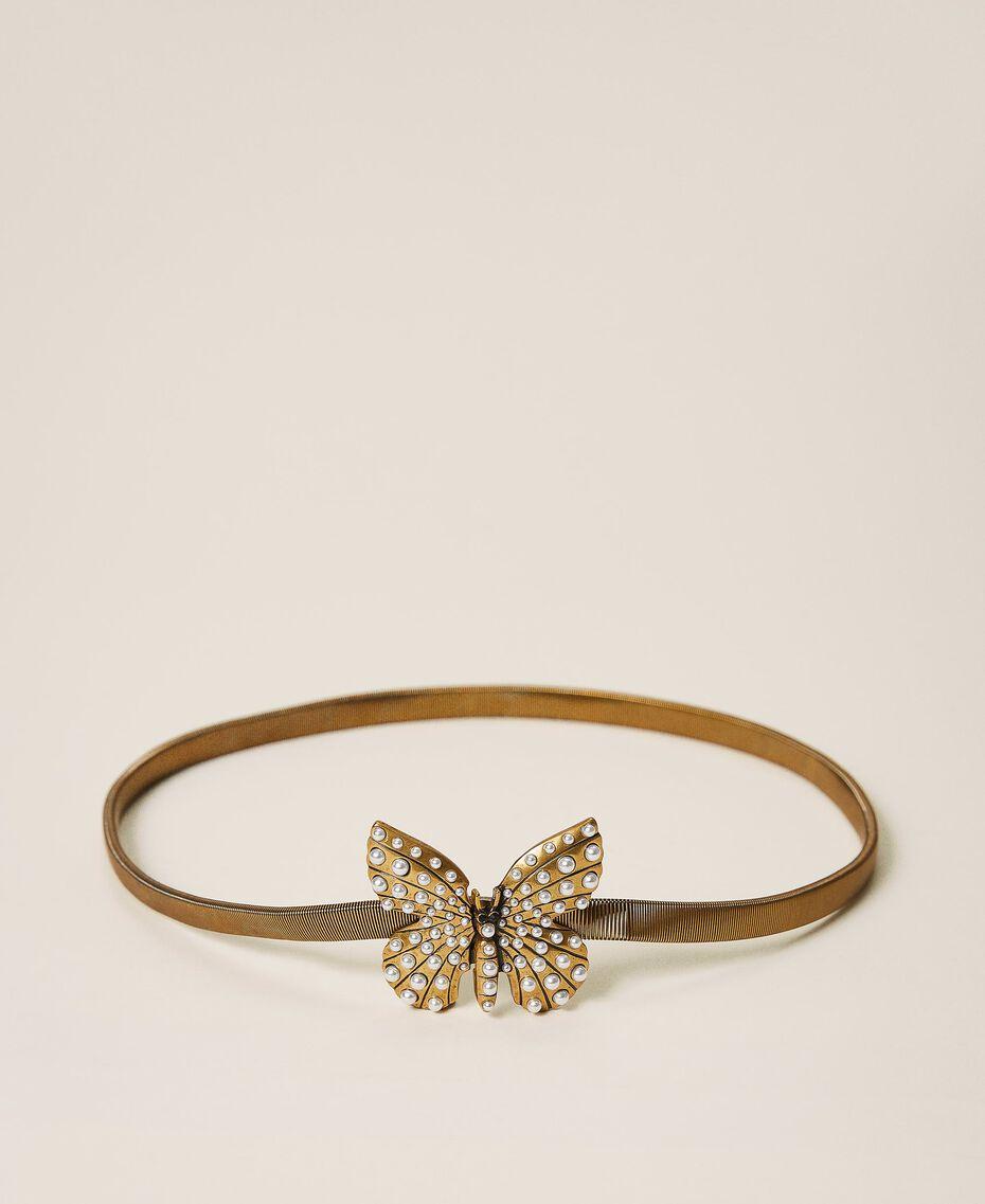 """Schmuckgürtel mit perlenbesetztem Schmetterling """"Kupfriges Altmessing""""-Gold Frau 202TA4306-02"""