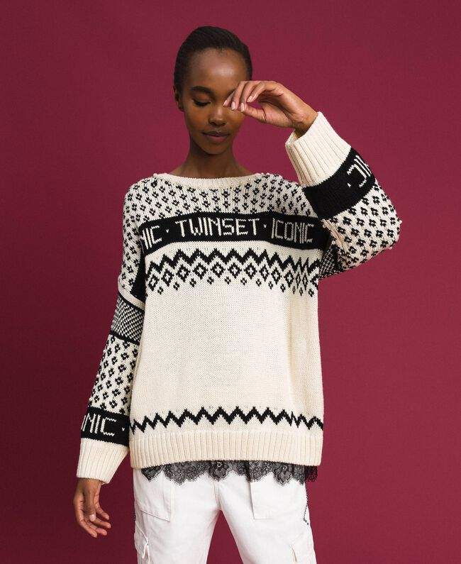 "Maxi jacquard jumper with logo and pearls Dark ""Papyrus"" White / Black Jacquard Woman 192TP332E-03"