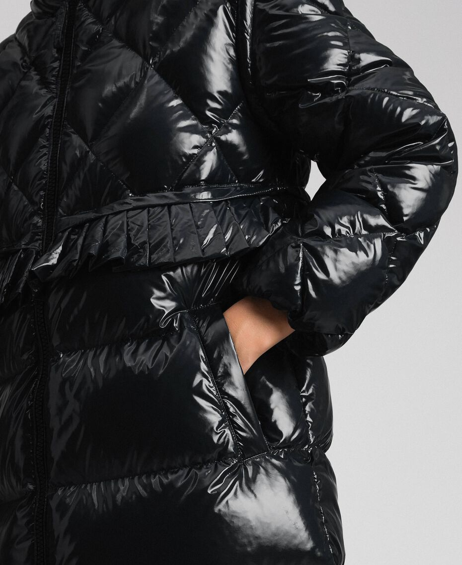 Long quilted padded jacket with real down Black Woman 192TP2501-05