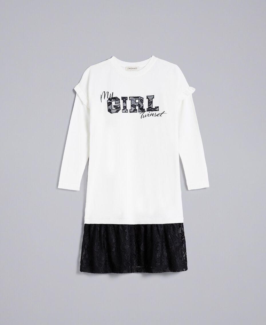Robe en viscose avec dentelle Bicolore Blanc Cassé / Noir Enfant GA83BN-01