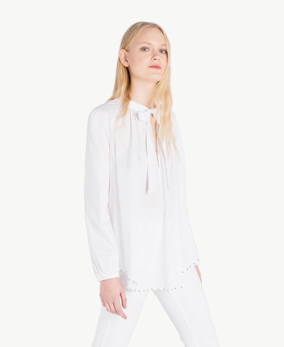 Bluse mit Schleife Weiß Frau JS82DE-02