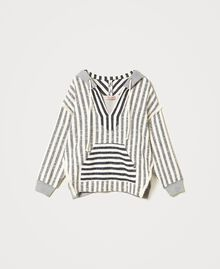"Oversize striped hoodie ""Ivory Mat"" Grey / Blue Mixed Stripe Woman 211TT2060-0S"