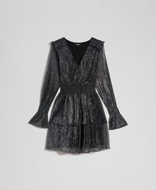 Metal creponne tulle dress Black / Silver Woman 192MT2140-0S