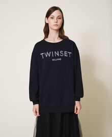 Sweatshirt mit Logo und Stickerei Schwarz Frau 202TP2660-01
