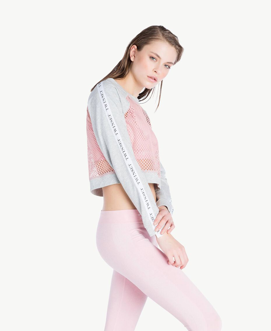 Mesh sweatshirt Two-tone Mid Melange Grey / Pinkie Sugar Woman LS87AA-03