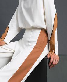 Pantalon palazzo avec bandes contrastées Ivoire / Beige «Camel Skin» Femme 192LI2HCC-04