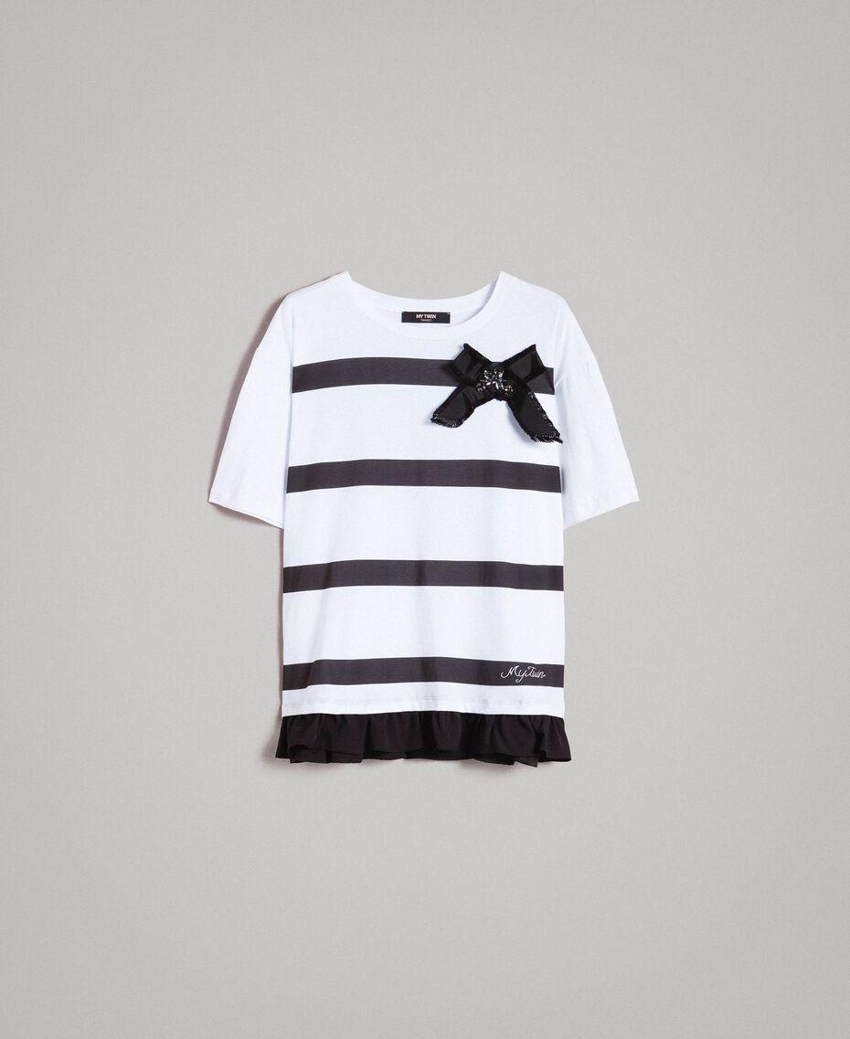 Maxi T-shirt  a righe con fiocco Panna White Donna 191MP206C-0S