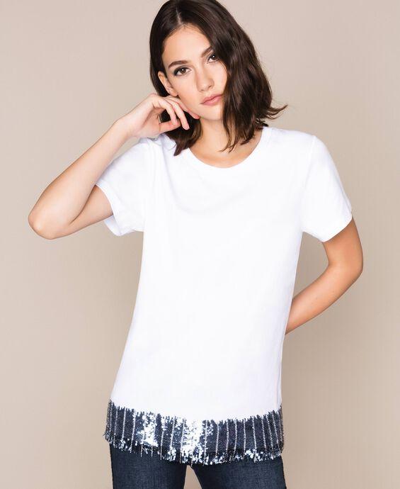 Sequin and rhinestone T-shirt
