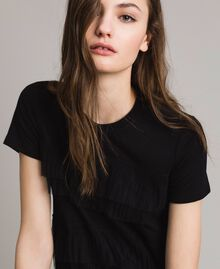 T-shirt con balze in tulle plissé Nero Donna 191MP2235-04
