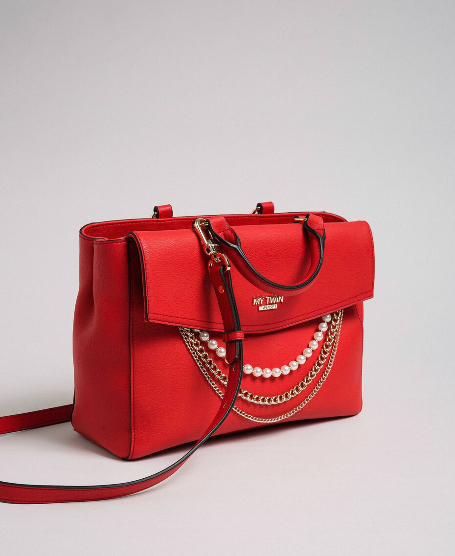 Faux leather shopper with pearls and chains Poppy Red Woman 192MA7053-01