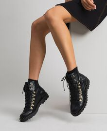 Combat boots with trekking-style fastening Black Woman 192MCP09A-0S