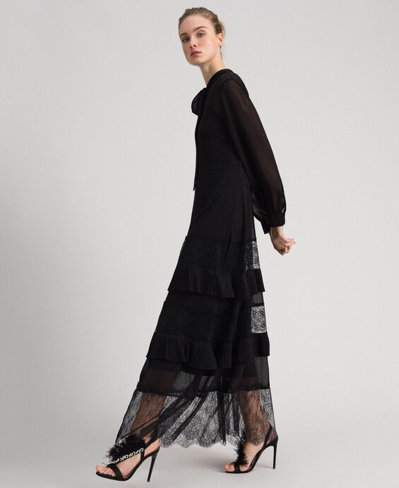 Full-length georgette and lace gown