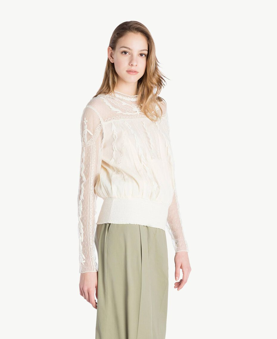 Blouse broderies Ivoire Femme TS82BB-02